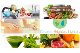collage image of healthy foods and exercise as part of Permen Naturopathic Purification Program